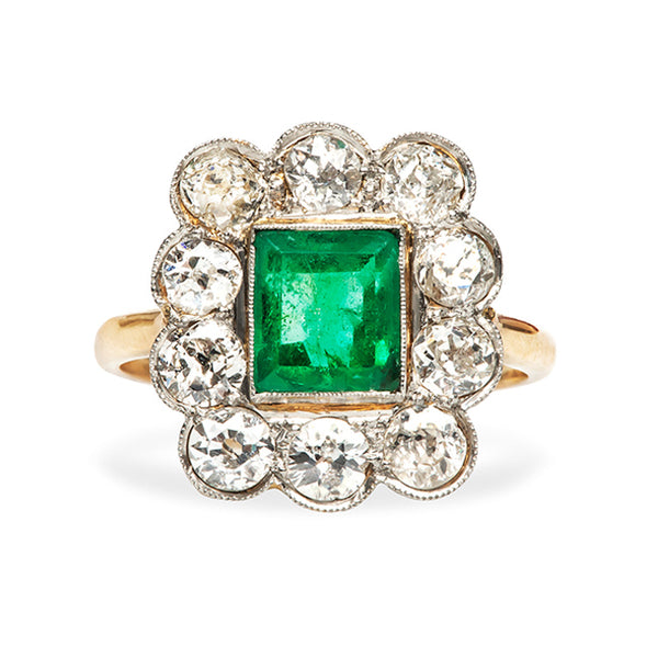 Montrose Vintage Emerald Diamond Halo Engagement Ring from Trumpet & Horn