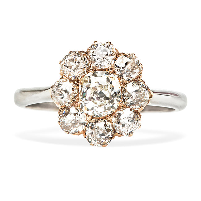 Vintage Old Mine Cut Diamond Cluster Flower Engagement Ring
