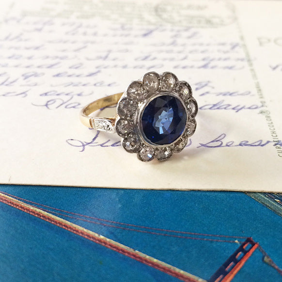 Antique Sapphire Engagement Ring | Victorian Sapphire Engagement Ring
