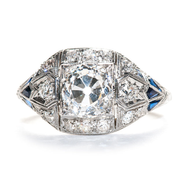 Vintage Art Deco Engagement Ring | Vintage Diamond and Sapphire Ring