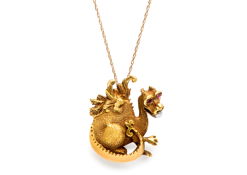 Antique Victorian Dragon Pendant