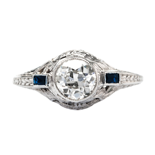 Telluride vintage Edwardian diamond and sapphire engagement ring from Trumpet & Horn
