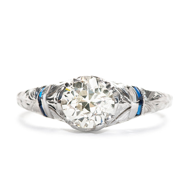 Vintage Engagement Ring | Vintage Diamond and Sapphire Ring