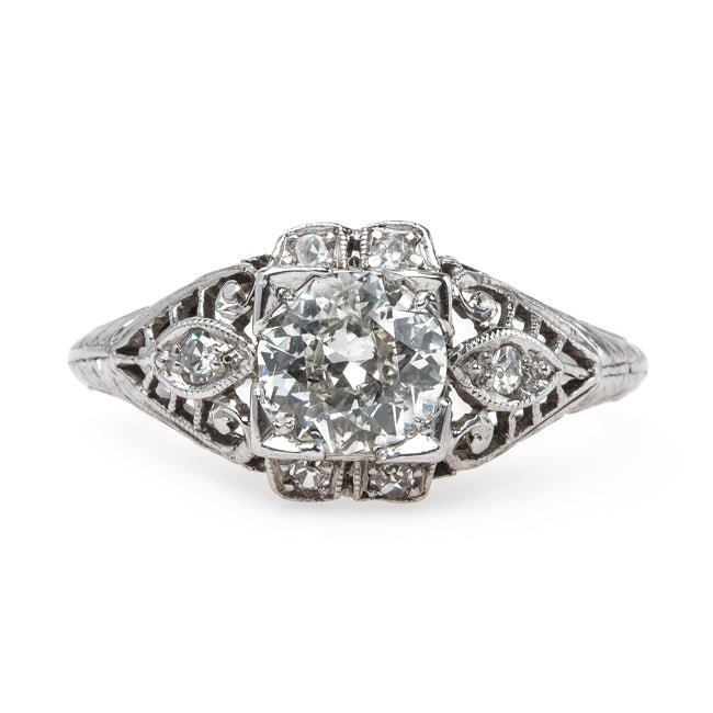 One-of-a-Kind Handcrafted Edwardian Engagement Ring with Old Mine Brilliant Cut Diamond Center | Captiva from Trumpet & Horn