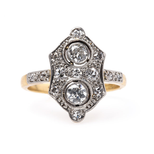 Exceptional Edwardian Era Navette Style Engagement Ring | Burnt Oak from Trumpet & Horn