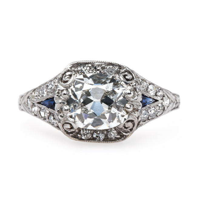 Impeccable Edwardian Era Diamond Engagement Ring with Sapphire Accents | Waterfront from Trumpet & Horn