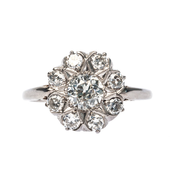Frazier vintage Edwardian diamond halo ring from Trumpet & Horn