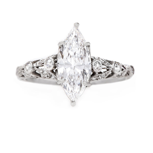 Incredibly Detailed Edwardian Ring with Perfect Marquise Diamond | Briarcliff from Trumpet & Horn