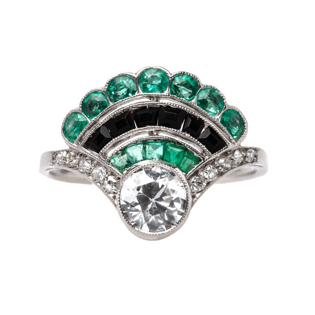Mullholland Art Deco Platinum Diamond Emerald and Onyx Cocktail Ring | Trumpet & Horn