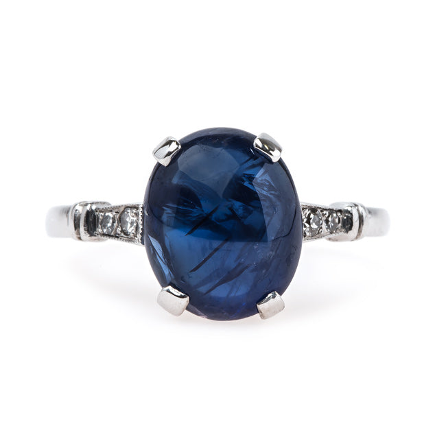Exemplary Art Deco Natural Cabochon Sapphire Engagement Ring | Gulfhaven from Trumpet & Horn