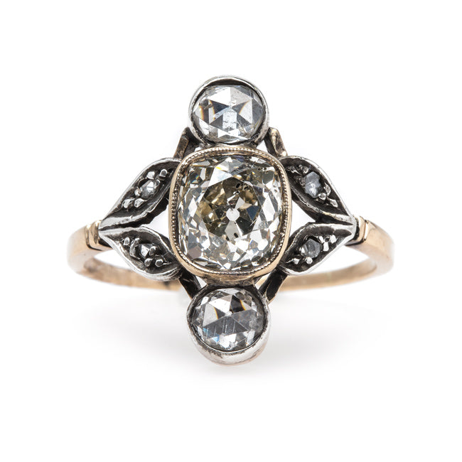 Vintage Art Nouveau Engagement Ring with Extremely Unique Design | Herringbone from Trumpet & Horn