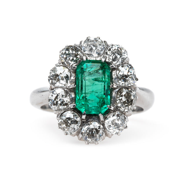 Columbian Emerald Engagement Ring with Sparkling Old Mine Cut Diamond Halo | Joshua Tree from Trumpet & Horn