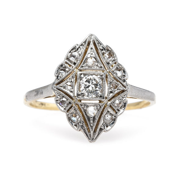 Edwardian Era Navette Style Engagement Ring with Rose Cut Diamonds | Mount Laurel from Trumpet & Horn