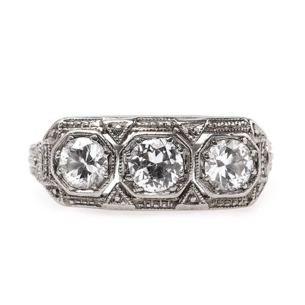 Sophisticated Edwardian Era Three Stone Diamond Engagement Ring | Finchley Lane from Trumpet & Horn