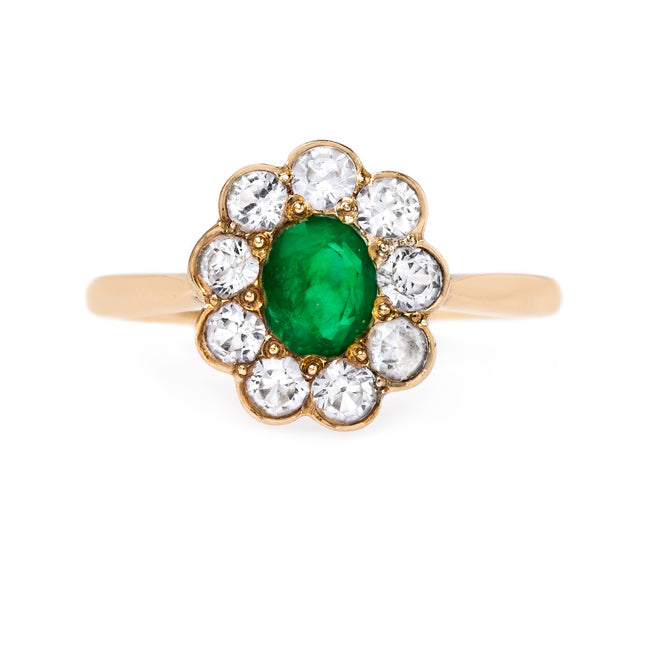 Unique Emerald and Sapphire Halo Ring | Stratton from Trumpet & Horn