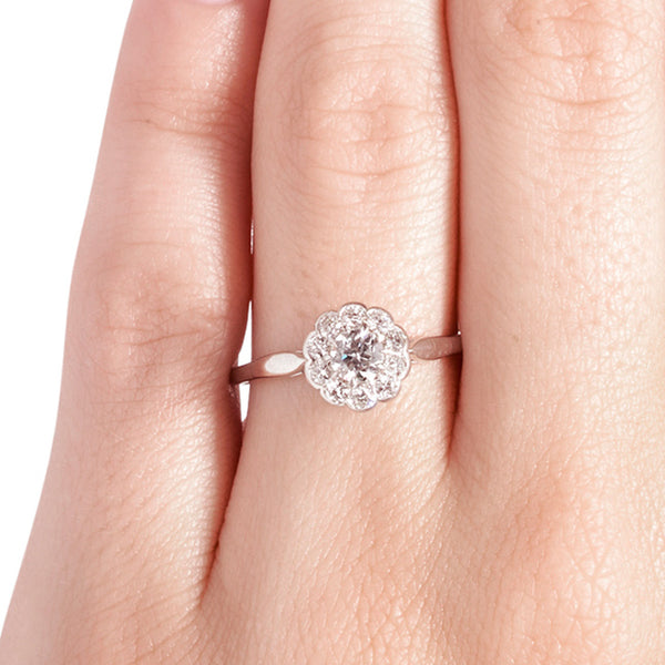 Vintage Diamond Cluster Engagement Ring | Edwardian Diamond Halo Engagement Ring