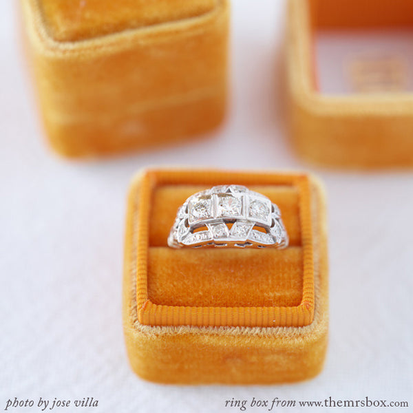 Vintage Three Stone Diamond Engagement Ring | Talisker from Trumpet & Horn