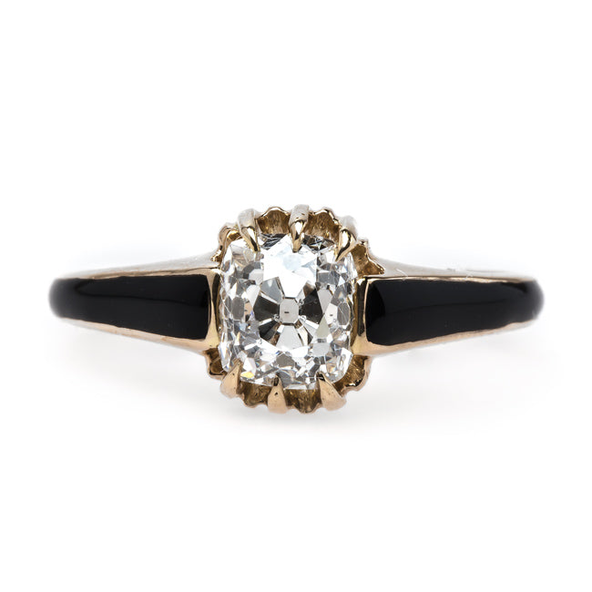 Incredibly Unique Victorian Era Solitaire Engagement Ring with Black Enamel Tapering | Crafton Hills from Trumpet & Horn
