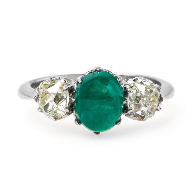 Art Deco Three Stone Ring with Emerald Center | Sunswept from Trumpet & Horn