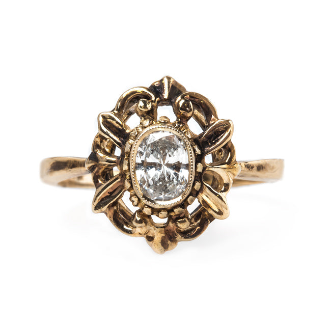 Incredible Unique Retro Era Solitaire Engagement Ring | Lake Forest from Trumpet & Horn