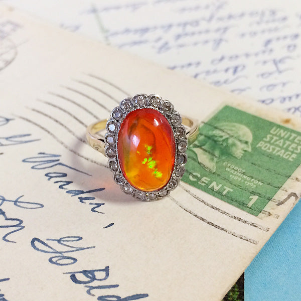 Brixton vintage fire opal and diamond ring from Trumpet & Horn