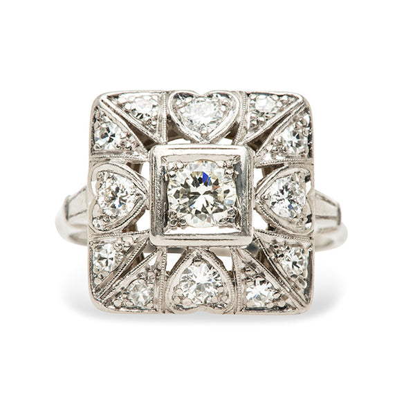 Edwardian Square Heart Diamond Cocktail Ring | Tulane from Trumpet & Horn