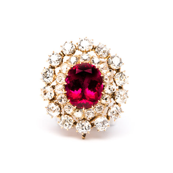 ruby rubelite diamond pendant