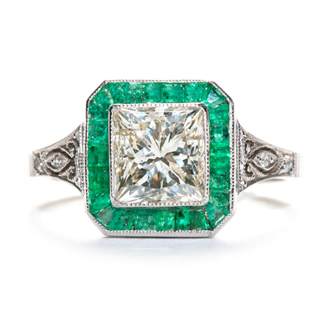 Vintage Inspired Emerald and Diamond Ring | Raleigh from Trumpet & Horn