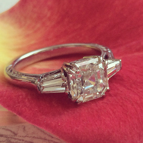 Southwick Vintage Inspired Classic Asscher Cut Engagement Ring from Trumpet & Horn