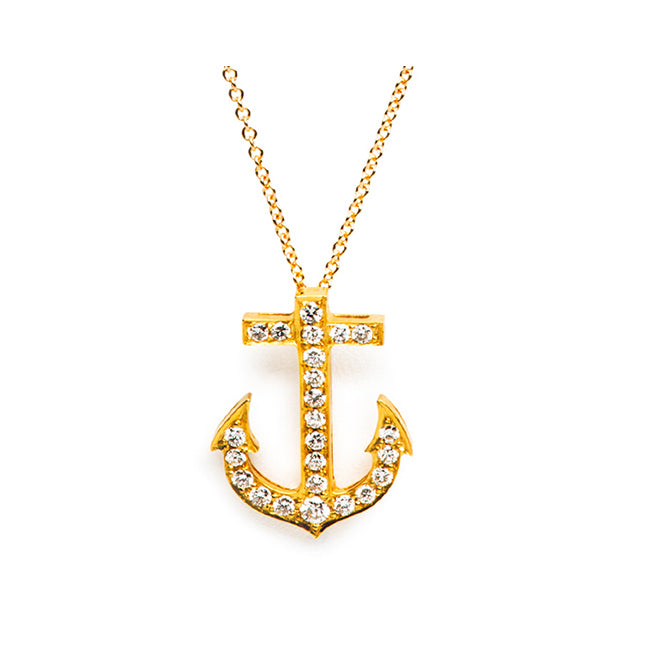 Gold anchor necklace 18k yellow gold diamonds trumpet horn yellow gold and diamond anchor necklace aloadofball Image collections