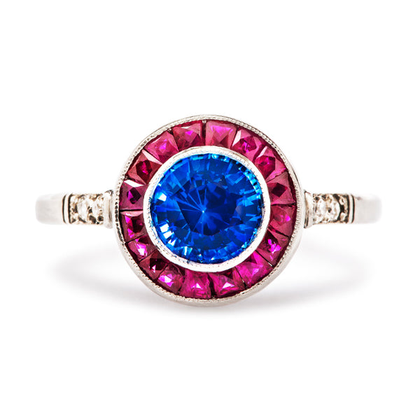 Vintage Inspired Sapphire Ruby Engagement Ring | Unique Sapphire Ruby Halo Right Hand Ring