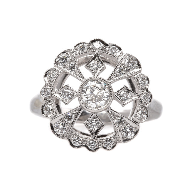Vintage Inspired 18K White Gold Ring with Geometric Diamonds | Gatsby from Trumpet & Horn