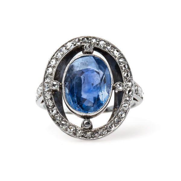 Late Art Deco Engagement Ring with Sri Lankan Sapphire | Pacifica from Trumpet & Horn