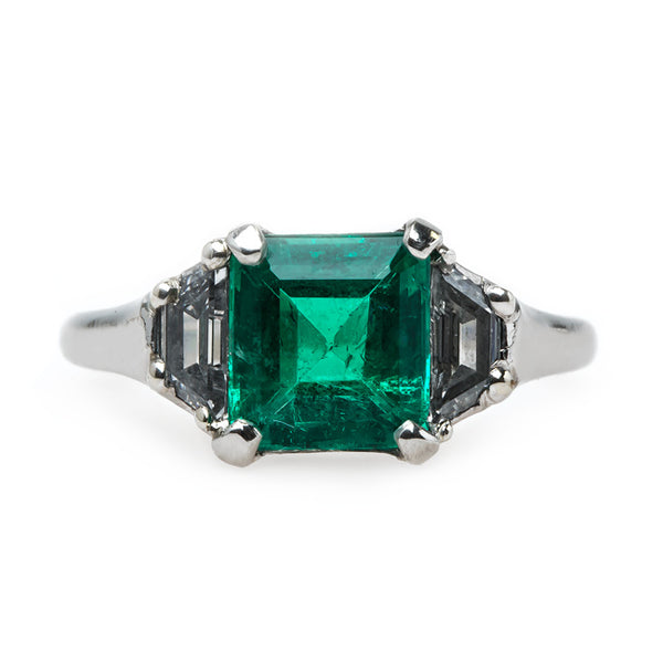 Chic Mid-Century Platinum Emerald and Diamond Engagement Ring | St. Charles from Trumpet & Horn