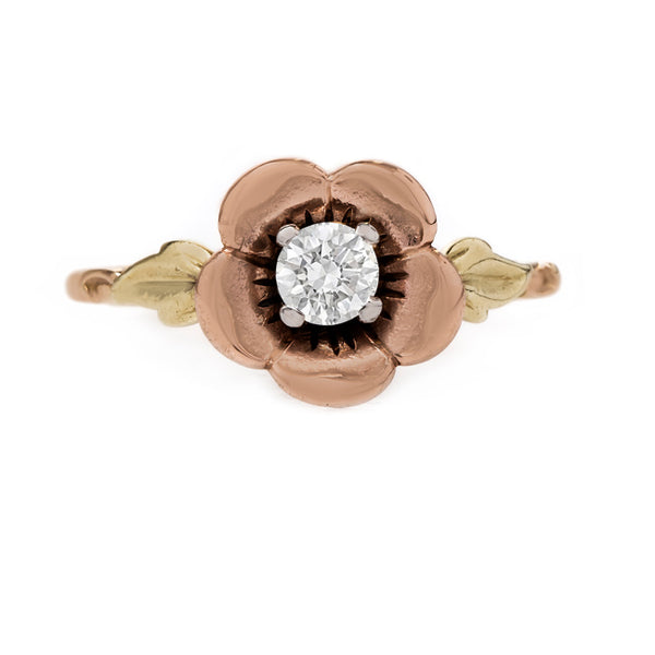Romantic Rose Gold Flower and Diamond Engagement Ring | Potterton from Trumpet & Horn