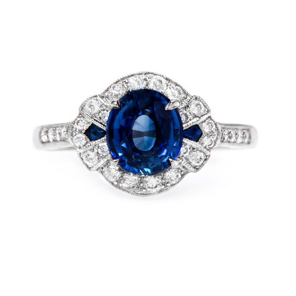 Contemporary Sapphire and Diamond Halo Ring | Hillspoint from Trumpet & Horn