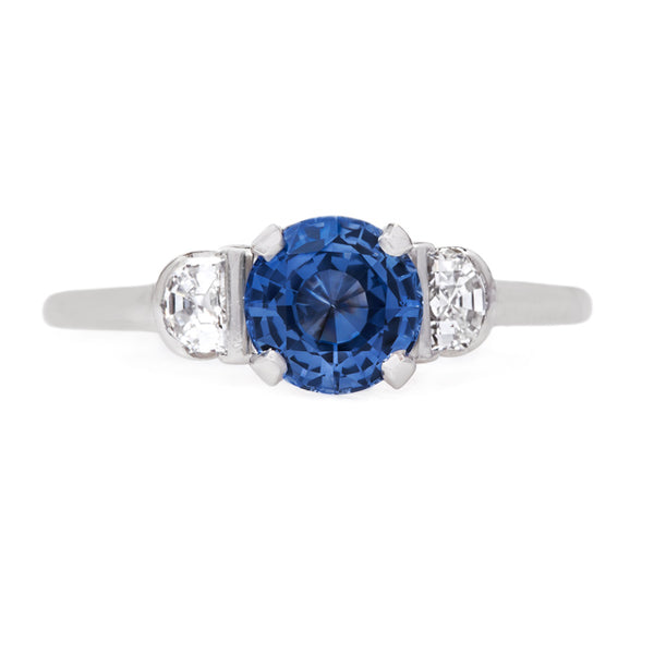 Platinum Three Stone Ring with Sapphire Center and Half Moon Diamonds | Sandridge from Trumpet & Horn