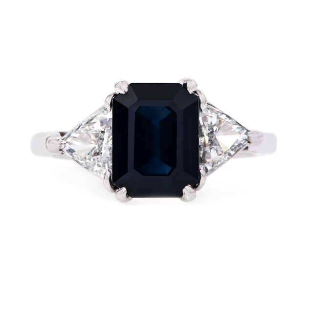 Exceptional Sapphire Ring with Trillion Cut Diamonds | Wyton from Trumpet & Horn