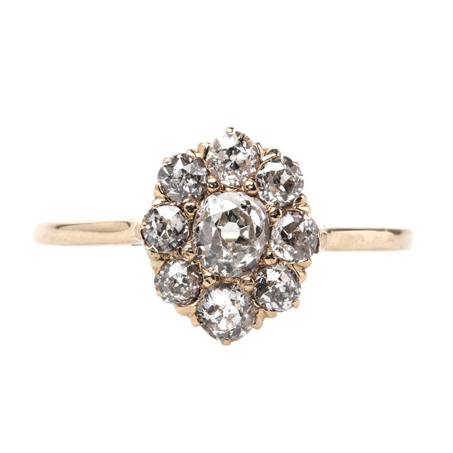Vintage Victorian Era Yellow Gold Cluster Engagement Ring with Old Mine Cut and Old European Cut Diamonds | Oakland  from Trumpet & Horn