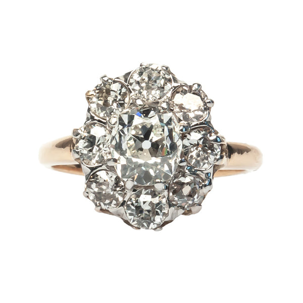 vintage old mine cut diamond cluster ring