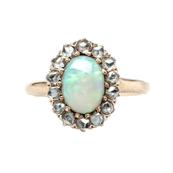 Maple Grove vintage opal and diamond halo ring from Trumpet & Horn