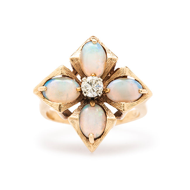 vintage diamond opal cocktail ring