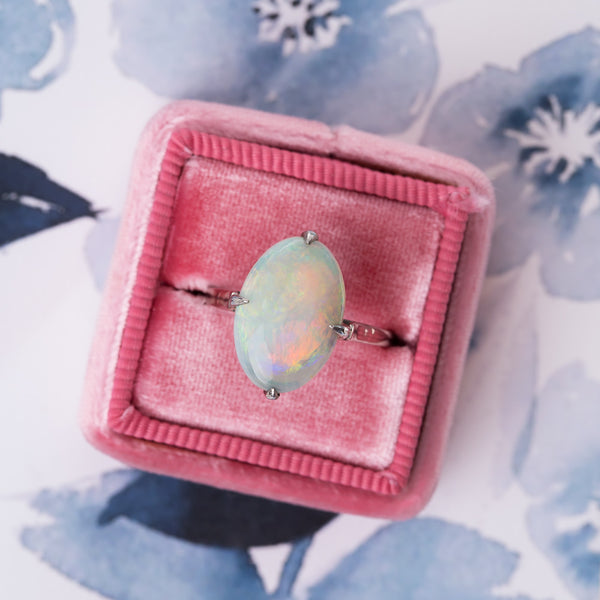 Dreamy Edwardian Oval Opal Solitaire Ring | Lockengate from Trumpet & Horn