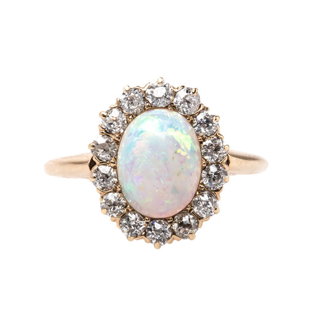 Victorian Opal Engagement Ring with Old Mine Cut Diamond Halo | Lindenwald from Trumpet & Horn
