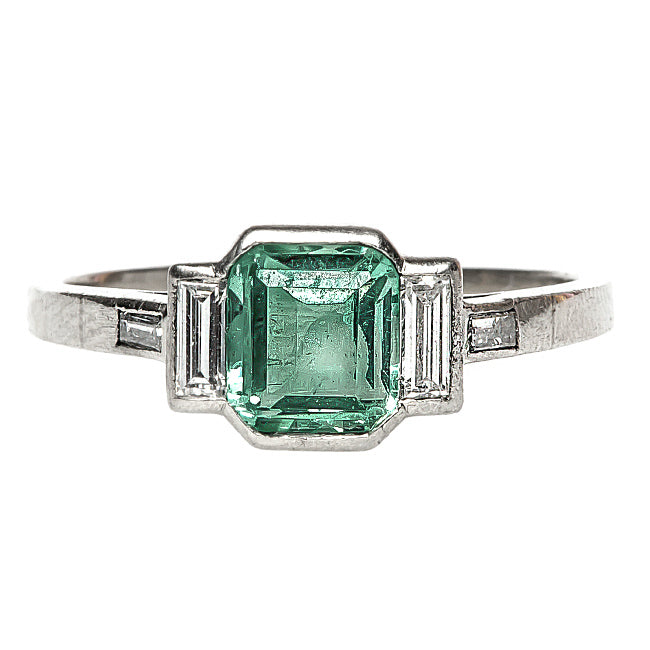 Vintage Art Deco Emerald and Diamond Ring