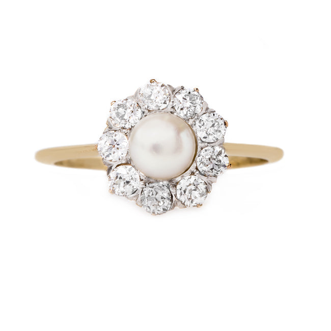 Old Mine Cut Diamond and Pearl Ring | Winterplace from Trumpet & Horn