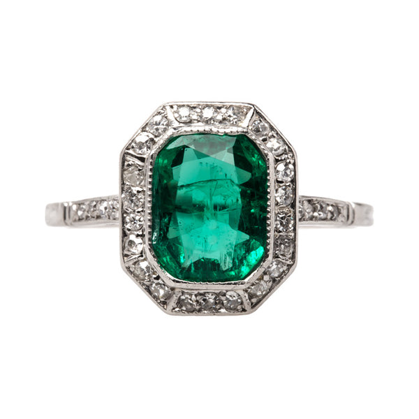 Art Deco Platinum Ring with Emerald Center and Single Cut Diamond Halo | Finsbury Park from Trumpet & Horn