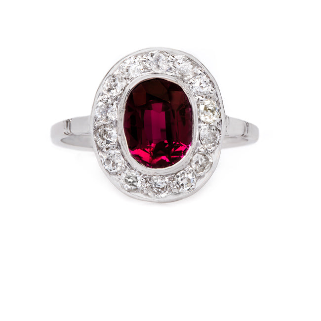 Spectacular Vintage Unheated Ruby Ring with Oval Diamond Halo | Longhaven from Trumpet & Horn