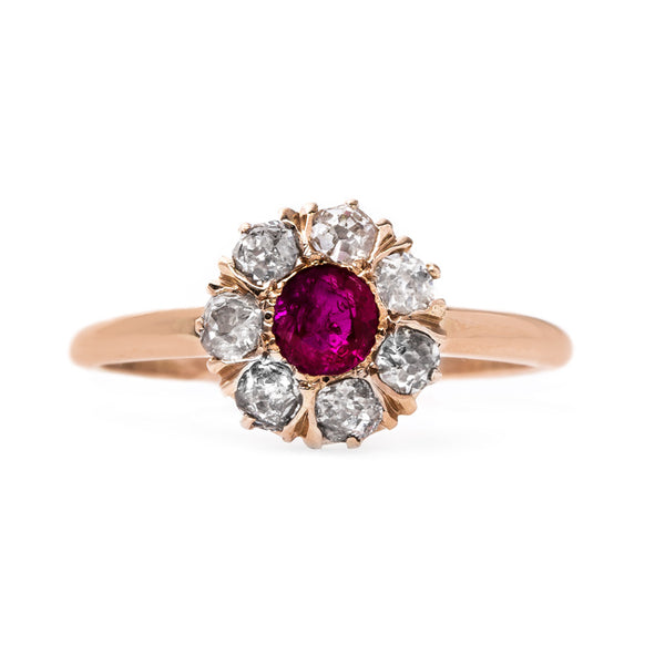 Unheated Burmese Ruby Cluster Ring | Crimson Way from Trumpet & Horn