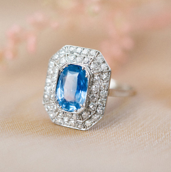 Art Deco Sapphire and Diamond Cocktail Ring